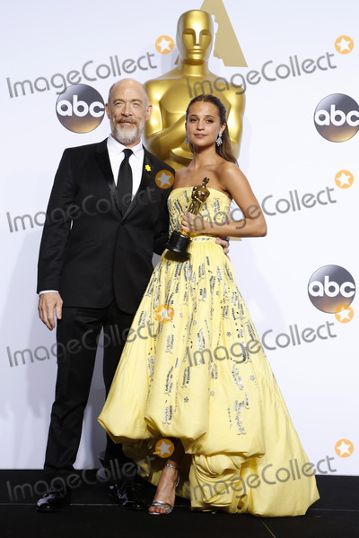 J K Simmons Photo - LOS ANGELES - FEB 28  JK Simmons Alicia Vikander at the 88th Annual Academy Awards - Press Room at the Dolby Theater on February 28 2016 in Los Angeles CA