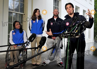Apolo Anton Ohno Photo - Apolo Anton Ohno Olympic Short Track Speed Skater makes remarks to reporters after meeting United States President Barack Obama and first lady Michele Obama at the White House in Washington DC on Wednesday April 21 2010  From left to right Alana Nichols Paralympic Sit Skiier Katherine Reutter Olympic Speed Skater Heath Calhoun Paralympic Sit Skiier and Apolo OnoPhoto by Ron SachsPool-CNP-PHOTOlinknet