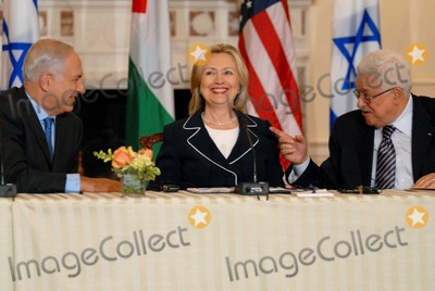 Mahmoud Abbas Photo - Washington DC 9022010RESTRICTED NEW YORKNEW JERSEY OUTNO NEW YORK OR NEW JERSEY NEWSPAPERS WITHIN A 75  MILE RADIUSSecretary Clinton hosts Abbas and Netanyahu peace talksSecretary of State Hillary Clinton hosts the re-launch of direct negotiations between Israeli Prime Minister Benjamin Netanyahu and Palestinian Authority President Mahmoud Abbas at the US State Department (center) Secretary Clinton (left) Netanyahu and (right) Abbas after opening remarks marking the start of the negotiationsDigital photo by Elisa Miller-PHOTOlinknet