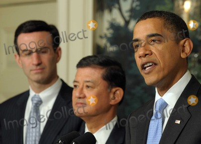 Eric Shinseki Photo - Washington DC - December 21 2009 -- United States President Barack Obama makes a statement on the SAVE (Securing Americans Value and Efficiency)  program in the Diplomatic Reception Room of the White House in Washington on December 21 2009 With him are Office of Management and Budget Director Peter R Orszag and Secretary of Veterans Affairs (VA) General Eric Shinseki The award is given to Federal employees whose submit ideas for saving the government money The President also applauded the Senates vote to end a Republican filibuster aimed at blocking health care reform  Photo by Roger WallenbergPooL-CNP-PHOTOlinknet
