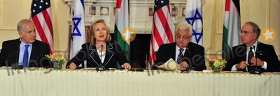 ABBA Photo - United States Secretary of State Hillary Rodham Clinton makes closing remarks at the press event Relaunch of Direct Negotiations Between the Israelis and Palestinians in the Benjamin Franklin Room of the US Department of State on Thursday September 2 2010  From left to right Prime Minister Benjamin Netanyahu of Israel United States Secretary of State Hillary Rodham Clinton President Mahmoud Abbas of the Palestinian Authority and US Special Envoy to the Middle East George MitchellCredit Ron Sachs  CNP(RESTRICTION NO New York or New Jersey Newspapers or newspapers within a 75 mile radius of New York City)