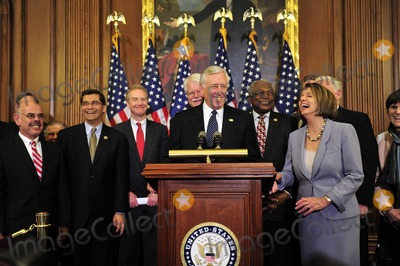 House Speaker Nancy Pelosi Photo - RESTRICTED NO NEW YORK OR NEW JERSEY NEWSPAPERS WITHIN A 75 MILE RADIUS OF NYCUnited States House Democratic Leaders celebrate the passage of the health care reform bill in the US Capitol in Washington DC early Monday morning March 22 2010  From left to right US Representative Henry Waxman (Democrat of California) US Representative Xavier Becerra (Democrat of California)  US Representative Chris Van Hollen (Democrat of Maryland) US Representative George Miller (Democrat of California) US House Majority Leader Steny Hoyer (Democrat of Maryland) US  House Majority Whip Jim Clyburn (Democrat of South Carolina) US House Speaker Nancy Pelosi (Democrat of California) and US Representative Rosa DeLauro (Democrat of Connecticut)Photo by Ron Sachs-CNP-PHOTOlinknet