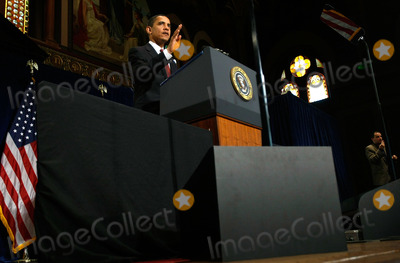 Alex Wong Photo - Washington DC - April 14 2009United States President Barack Obama delivers a speech at Georgetown University Tuesday April 14 2009 in Washington DC Obama updated the American people on the latest developments of the economy under his recovery policiesDigital Photo by  Alex WongPOOL-CNP-PHOTOlinknet