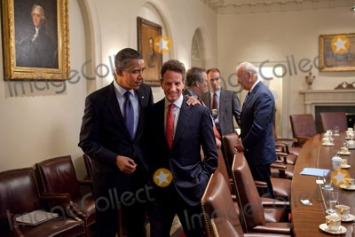 Timothy F Geithner Photo - OBAMA AND GEITHNERUnited States President Barack Obama talks with Secretary of the Treasury  Timothy F Geithner at the conclusion of a meeting in the Cabinet Room of the White House November 4 2010 Photo by Pete SouzaWhite House via CNP-PHOTOlinknet
