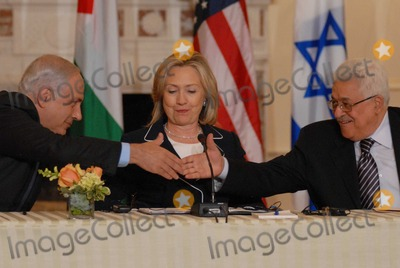Benjamin Netanyahu Photo - Washington DC 9022010RESTRICTED NEW YORKNEW JERSEY OUTNO NEW YORK OR NEW JERSEY NEWSPAPERS WITHIN A 75  MILE RADIUSSecretary Clinton hosts Abbas and Netanyahu peace talksSecretary of State Hillary Clinton hosts the re-launch of direct negotiations between Israeli Prime Minister Benjamin Netanyahu and Palestinian Authority President Mahmoud Abbas at the US State Department Netanyahu and Abbas shake hands after opening remarks marking the start of the negotiationsDigital photo by Elisa Miller-PHOTOlinknet