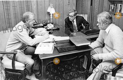 Harold Brown Photo - United States President Jimmy Carter left meets US Secretary of Defense Harold Brown center and US Secretary of State Cyrus Vance right meet at Camp David the US presidential retreat near Thurmont Maryland to discuss strategy during the peace talks between Egypt and Israel in September 1978Photo by White House CNP-PHOTOlinknet