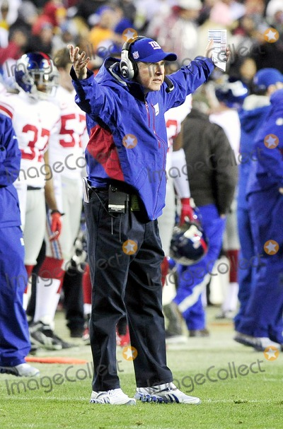Tom Coughlin Photo - RESTRICTED NO NEW YORK OR NEW JERSEYNEWSPAPERS WITHIN A 75 MILE RADIUS OF NYC01022011 - GIANTS V REDSKINSNew York Giants head coach Tom Coughlin questions something during the third quarter against the Washington Redskins at FedEx Field in Landover Maryland on Sunday January 2 2011  The Giants won 17 - 14Photo by Ron SachsCNP-PHOTOlinknet