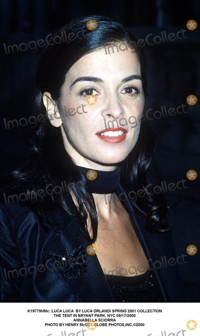 Annabella Sciorra Photo -  Luca Luca by Luca Orlandi Spring 2001 Collection the Tent in Bryant Park NYC 09172000 Annabella Sciorra Photo by Henry McgeeGlobe Photosinc