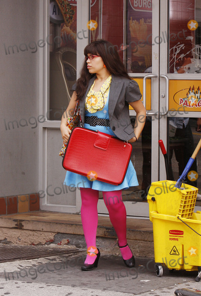 AMERICA FERERRA Photo - Actress Lindsay Lohan was on the set of the TV show Ugly Betty filming a scene with America Ferrera on July 22 2008 in Long Island City Queens New York