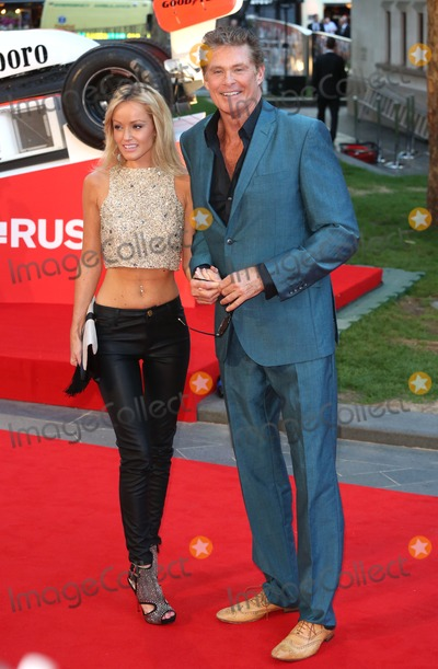Hayley Roberts Photo - David Hasselhoff and Hayley Roberts arriving for the Rush World premiere at the Odeon Leicester Square London 02092013 Picture by Henry Harris  Featureflash