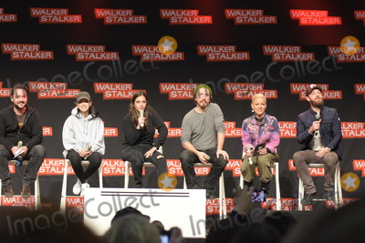 Alanna Masterson Photo - MANNHEIM GERMANY - MARCH 17 (L to R) Actors Christian Serratos Alanna Masterson Michael Traynor host Ross Marquand (The Walking Dead) panel at Walker Stalker Germany convention (Photo by Markus Wissmann)