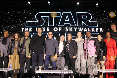 Chris Terrio Photo - Oscar Isaac Billy Dee Williams Keri Russell Adam Driver JJ Abrams Chris Terrio Kathleen Kennedy Daisy Ridley John Boyega Kelly Marie Tran Naomi Ackie Joonas Suotamo 12042019 Star Wars The Rise of the Skywalker Press Conference held in Pasadena CA Photo by Izumi Hasegawa  HollywoodNewsWireco