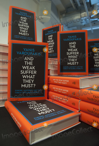 Yanis Varoufakis Photo - LondonUK  Former Greek finance minister and economist  Yanis Varoufakiss book   And The Weak Must Suffer What They Must at Foyles bookshop 5th April 2016 Ref LMK386-60201-060416Gary MitchellLandmark Media WWWLMKMEDIACOM