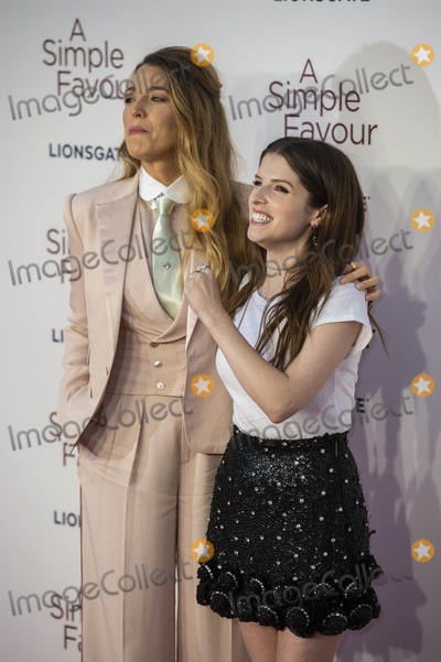 Anna Kendrick Photo - London UK Blake Lively and Anna Kendrick at the UK Premiere of A Simple Favor at the BFI Southbank on the 17th September 2018 in London England UK  Ref LMK386-J2620-180918Gary MitchellLandmark MediaWWWLMKMEDIACOM