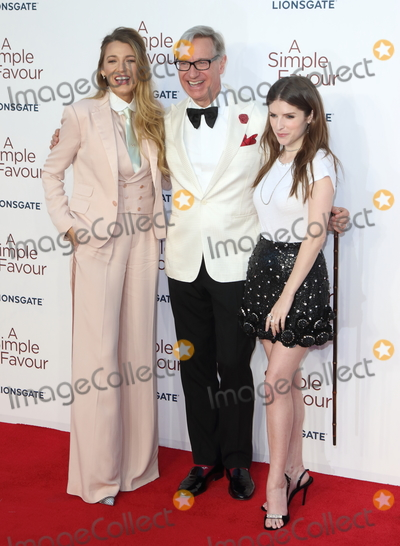 Anna Kendrick Photo - London UK Blake Lively Paul Feig and Anna Kendrick at the UK Premiere of A Simple Favor at the BFI Southbank on the 17th September 2018 in London England UK  Ref LMK73-J2621-180918Keith MayhewLandmark MediaWWWLMKMEDIACOM