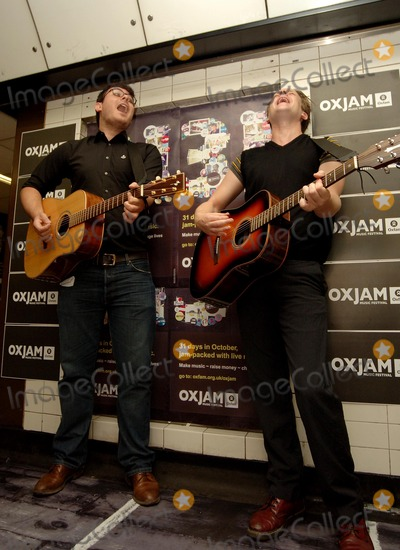 The Futureheads Photo - London UK Ross Millard and Barry Hyde  from the new wave indie band from Sunderland The Futureheads perform three tracks acoustic set to mark the launch of OXJAM a series of music events across the country which runs from the 1st to the 31st of  October  The photocall took place at Charing Cross underground station 25th August 2006  Ali KadinskyLandmark Media