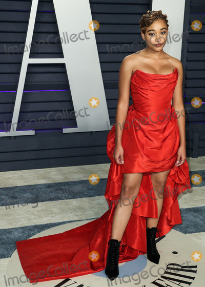 Amandla Stenberg Photo - BEVERLY HILLS LOS ANGELES CA USA - FEBRUARY 24 Actress Amandla Stenberg wearing a Vivienne Westwood gown with Jennifer Meyer jewelry and Tabitha Simmons booties arrives at the 2019 Vanity Fair Oscar Party held at the Wallis Annenberg Center for the Performing Arts on February 24 2019 in Beverly Hills Los Angeles California United States (Photo by Xavier CollinImage Press Agency)