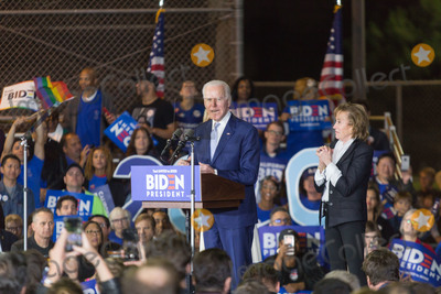 Vice President Joe Biden Photo - BALDWIN HILLS LOS ANGELES CALIFORNIA USA - MARCH 03 Former Vice President Joe Biden 2020 Democratic presidential candidate left speaks while his sister Valerie Biden right stands during his Super Tuesday Los Angeles Rally held at the Baldwin Hills Recreation Center on March 3 2020 in Baldwin Hills Los Angeles California United States (Photo by Rudy TorresImage Press Agency)