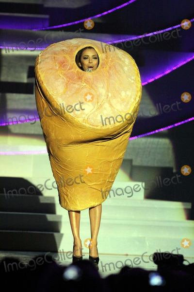 Eva Longoria-Parker Photo - Show Host Eva Longoria Parker Pays Tribute to Lady Gaga by Dressing Up As Ham at the Mtv Emas - Europe Music Awards - at Caja Magica in Madrid Spain on November 7th 2010 Photo Alec Michael-Globe Photos Inc 2010