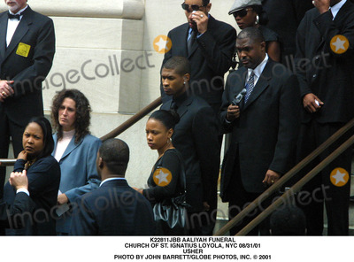 Aaliyah Photo - Aaliyah Funeral Church of St Ignatius Loyola NYC 083101 Usher Photo by John BarrettGlobe Photos Inc