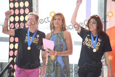 HODA KOTBE Photo - Abby Wambach Hoda Kotb and Hope Solo at the Fifth Harmony Performance on the Toyota Concert Series on the Today Show Rockefeller Plaza NYC July 10 2015 Photos by Sonia Moskowitz Globe Photos Inc