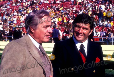 Hank Stram Photo - Curt Gowdy and Hank Stram Photo Bill Crespinel  Globe Photos Inc Hankstramretro