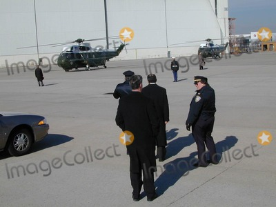 AIRFORCE ONE Photo - Secret Service and Police Await President George W Bush Arrival on Airforce One at John F Kennedy International Airport Queens NY Photo Bruce Cotler Globe Photos Inc