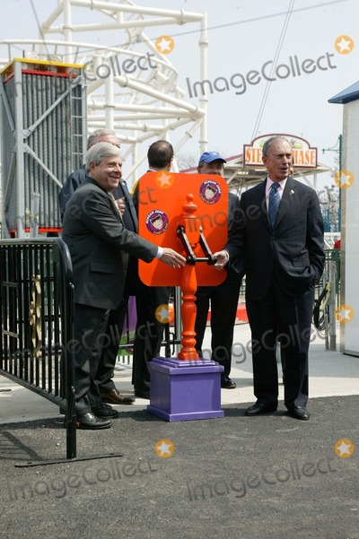 Mayor Bloomberg Photo - Brooklyn NY   Mayor Michael Bloomberg opens Scream Zone  Amusement Park in Coney Island Debut of First New Roller Coasters since the Cyclone opened in 1927   Brooklyn Borough President Marty Markowitz and Mayor Bloomberg pull the switch to open the Scream Zone          Bruce Cotler              4  20 11  ANTONIO ZAMPERLA and MICHAEL BLOOMBERG