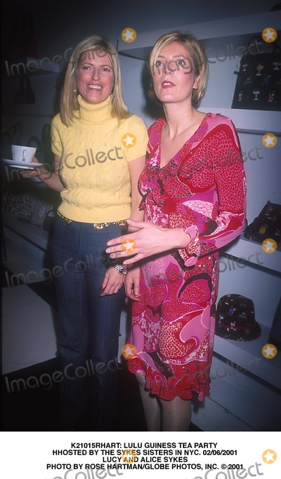 Alice Sykes Photo -  Lulu Guiness Tea Party Hhosted by the Sykes Sisters in NYC 02062001 Lucy and Alice Sykes Photo by Rose HartmanGlobe Photos Inc