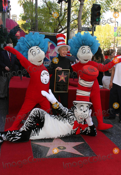 Audrey Geisel Photo - AUDREY GEISEL THE WIFE OF AUTHOR DR SEUSS (THEODOR GEISEL) POSED WITH CHARACTERS FROM CAT IN THE HAT AS DR SEUSS WAS HONORED POSTHUMOUSLY WITH THE 2249TH STAR -DR SEUSS HONORED WITH STAR ON THE HOLLYWOOD WALK OF FAME -HOLLYWOOD BOULEVARD HOLLYWOOD CA -03112004 -PHOTO BY NINA PROMMERGLOBE PHOTOS INC2004K36070NP