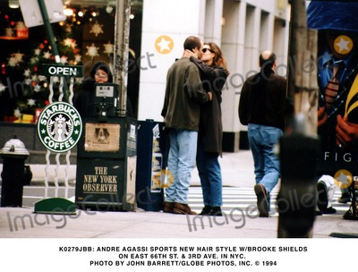 Andre Agassi Photo -  Andre Agassi Sports New Hair Style W Brook Shields on East 66th St  3rd Ave in NYC Photo by John BarrettGlobe Photos Inc