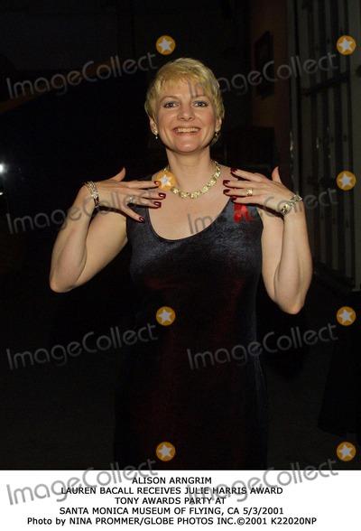 Alison Arngrim Photo - Alison Arngrim Lauren Bacall Receives Julie Harris Award Tony Awards Party at Santa Monica Museum of Flying CA 532001 Photo by Nina PrommerGlobe Photos Inc2001