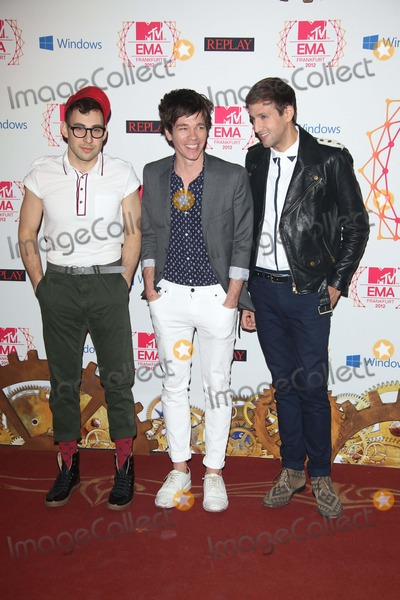 Andrew Dost Photo - Musicians Jack Antonoff (l-r) Nate Ruess and Andrew Dost of Fun Arrive For the Mtv Europe Music Awards (Ema) at Festhalle in Frankfurt Germany on 11 November 2012 the Music Tv Channels Award Ceremony Is in Its 19th Year and Recognizes Talent on the European Music Scene Photo Alec Michael