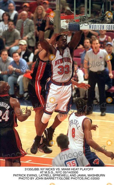 Latrell Sprewell Photo -  NY Nicks Vs Miami Heat Playoff at Msg NYC 05142000 Patrick Ewing Latrell Sprewell and Jamal Mashburn Photo by John BarrettGlobe Photosinc