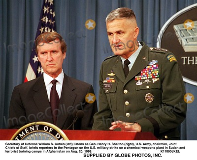 Train Photo - 980820-D-2987S-032Secretary of Defense William S Cohen (left) listens as Gen Henry H Shelton (right) US Army chairman Joint Chiefs of Staff briefs reporters in the Pentagon on the US military strike on a chemical weapons plant in Sudan and terrorist training camps in Afghanistan on Aug 20 1998 DoD photo by Helene C Stikkel  (Released)