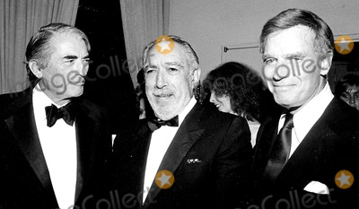 Anthony Quinn Photo - Gregory Peck Anthony Quinn and Charlton Heston Ralph DominquezGlobe Photos Inc Gregorypeckretro