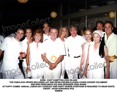 Hugh Edwards Photo - 9499 - EAST HAMPTONLONG ISLANDTHE FABULOUS CROWD INCLUDING JAY AND REGIS PHILBINCLAUDIA COHEN (GOSSIP COLUMNIST AND RON PERELMANS EX) AND DESIGNER VERA WANGAT PUFFY COMBS ANNUAL LABOR DAY COOKOUT AND PARTY WHERE EVERYONE IS REQUIRED TO WEAR WHITECREDIT  HUGH EDWARDS IPOLGLOBE PHOTOS INCI3368HE