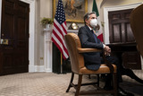 Photos From Biden Attends a Virtual Bilateral Meeting with President Obrador of Mexico