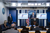 Photos From President Donald Trump Speaks in the Brady Press Briefing Room