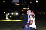 Marine One Photo - United States President Joe Biden walks from Marine One with first lady Dr Jill Biden on the Ellipse near the White House after spending the weekend in Wilmington Delaware on Sunday April 18 2021 in Washington DCCredit Oliver Contreras  Pool via CNP