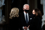 Photo - Former United States Vice President Joe Biden the Democratic Party candidate for President center and his wife Dr Jill Biden left and United States Senator Kamala Harris (Democrat of California) the Democratic Party candidate for Vice President before a ceremony where Justice Ruth Bader Ginsburg lies in state in Statuary Hall of the Capitol in Washington DC on September 25 2020 Credit Erin Schaff  Pool via CNPAdMedia