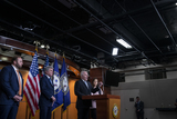 Photos From United States House Minority Whip Steve Scalise (Republican of Louisiana) and United States Representative Elise Stefanik (Republican of New York) hold a press conference at the US Capitol