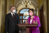 Photos From Speaker of the United States House of Representatives Nancy Pelosi (Democrat of California) meets with His Excellency Mustafa Al-Kadhimi, Prime Minister of the Republic of Iraq