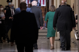 Photos From Speaker of the United States House of Representatives Nancy Pelosi (Democrat of California) and United States Senator Patrick Leahy (Democrat of Vermont) walk to the House chamber at the US Capitol during a vote.