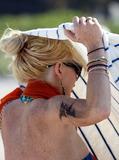 Photo - Lindsay Lohan Beach Tattoo